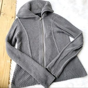 Calvin Klein Grey Knit Sweater Zipper Jacket